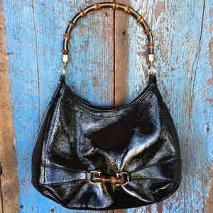 Talbots Black Patent Leather Purse with Bamboo